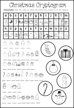 Christmas Cryptogram Writing Freebie
