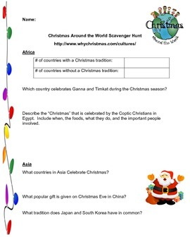 Cultural Scavenger Hunt - Christmas Around the World