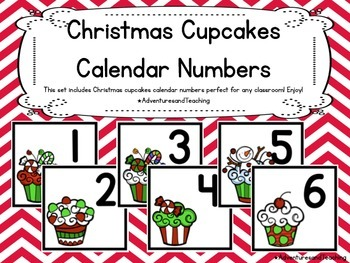 Christmas Cupcakes Themed Calendar Numbers {Christmas}