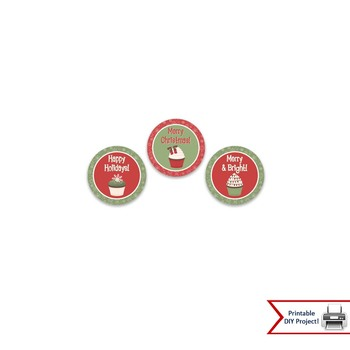 Christmas Cupcake Toppers & Gift Tags For Christmas & Holiday Parties
