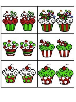 Christmas Cupcake - Visual Discrimination File Folder