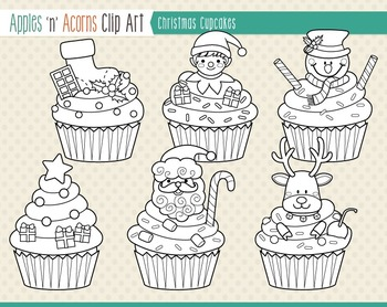 Christmas Cupcakes Clip Art - color and outlines