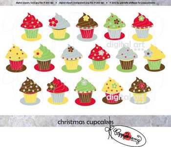 Christmas Cupcakes Clipart Set by Poppydreamz