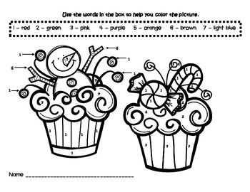 Christmas Cupcakes Coloring Color by Number Printable Worksheet