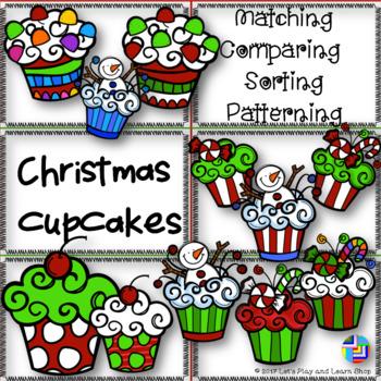 Christmas Cupcakes, Matching, Comparing, Sorting & Patterning