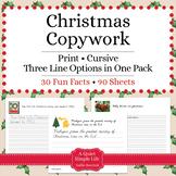 Christmas Cursive Copywork - Christmas Handwriting Practice