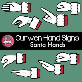 Christmas Curwen Hand Sign Clip Art with Line Art, Santa Hands