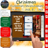 Christmas Customary Measurement Length Interactive Boom Cards 3 Sets