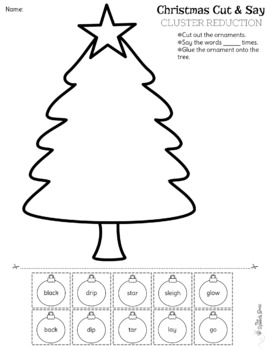 Christmas Cut & Say: Phonological Processes {FREE}