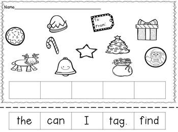 Christmas Sentence Cut and Build Flip Book & More !  Pre-K & K