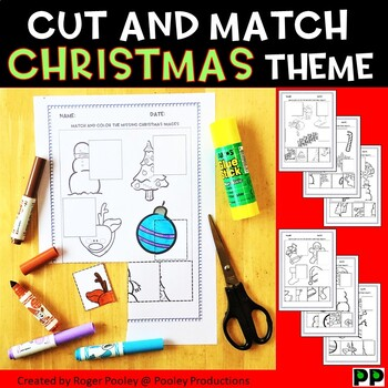 Christmas Cut and Paste Activities, PreK-3, No Prep