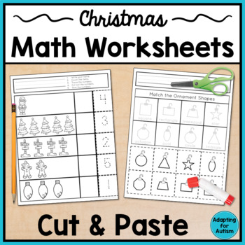 Christmas Cut and Paste Math Worksheets for Special Education and Autism