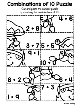 Christmas Cut and Paste Number Sense Puzzles