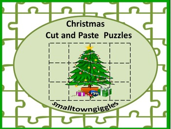 Christmas Cut and Paste Puzzles Fine Motor Activities  P-K,K, Special Education