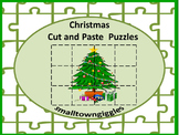 Christmas Cut and Paste Puzzles, Special Education Interactive Notebook Craft