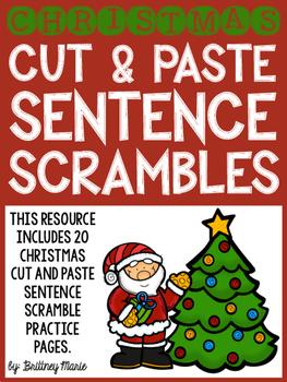 Christmas Cut and Paste Sentence Scrambles