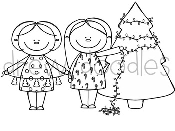 Christmas Cuties Digital Clip Art Set- Black Line Version