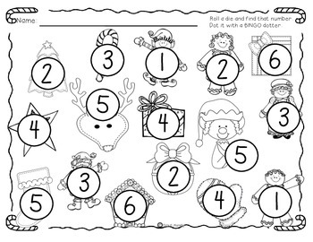 Christmas Cuties Roll and Dot for the Numbers 1-18