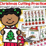 Christmas Cutting Practice Skills Straight and Curved Lines Color and BW
