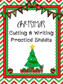 Christmas Cutting and Writing Practice Sheets