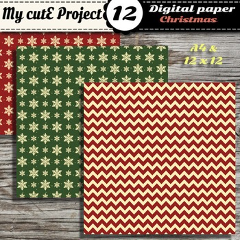 Christmas DIGITAL PAPER - Stripes, polka dots, snowflakes in red and green