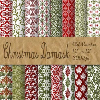 Christmas Damask Digital Paper Pack - 16 Different Papers - 12inx12in