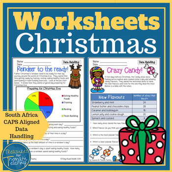 Christmas Data and Graph Worksheets Grade 3 CAPS aligned