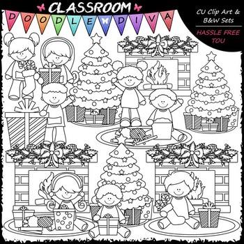 Christmas Day Clip Art - Christmas Clip Art & B&W Set