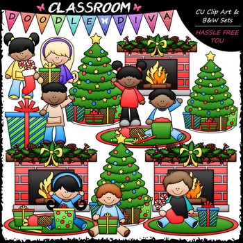 Christmas Day Clip Art - Christmas Clip Art & B&W Set
