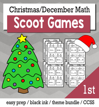 Christmas December 1st Grade {Scoot Game/Task Cards} Math Bundle