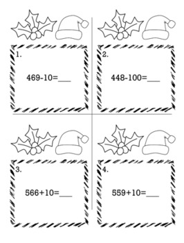 Christmas December 2nd Grade {Scoot Game/Task Cards} Math Bundle