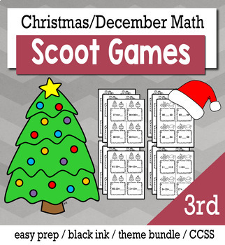 Christmas December 3rd Grade {Scoot Game/Task Cards} Math Bundle