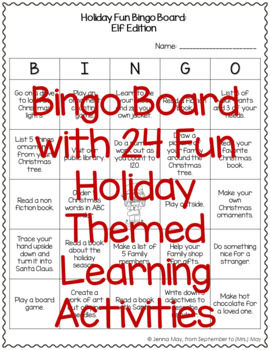 Christmas, December Homework Bingo Board: Elf Edition