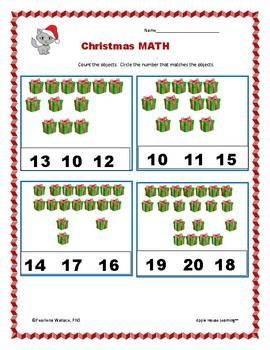 Christmas (December) Math & Literacy Maga Activities Packet NO PREP