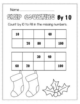 Christmas December Math for 1st Grade - NO PREP Packet