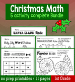 Christmas December Math for 1st Grade - NO PREP Packet