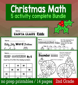 Christmas December Math for 2nd Grade - NO PREP Packet