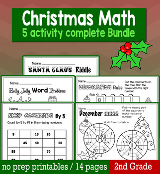 Christmas December Math for 2nd Grade - NO PREP Packet