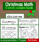 Christmas December Math for 3rd Grade - NO PREP Packet