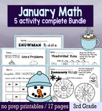 Winter January Math for 3rd Grade - NO PREP Packet