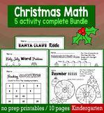 Christmas December Math  for Kindergarten - NO PREP Packet