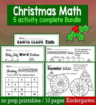 Christmas December Math  for Kindergarten - NO PREP Packet