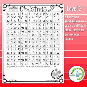 Christmas Word Search Puzzle - 3 Levels Differentiated