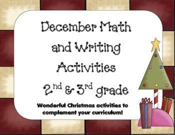Christmas-December Writing and Math activities  2nd-3rd