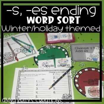Christmas/December, -s, -es ending word sort