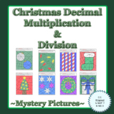 Christmas Decimal Multiplication and Division Mystery Pictures