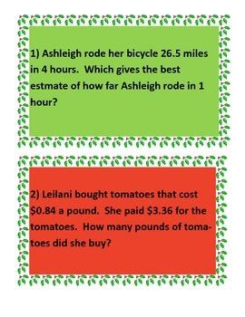 Christmas Decimal Operation Task Cards