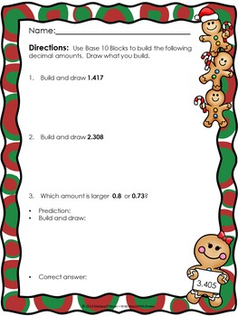 Christmas Decimal Place Value Build and Draw