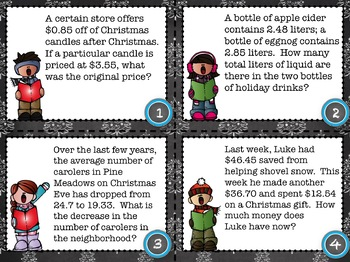 Christmas Decimal Word Problem Task Cards