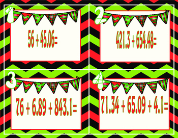 FREE! Christmas Decimals-Task Cards